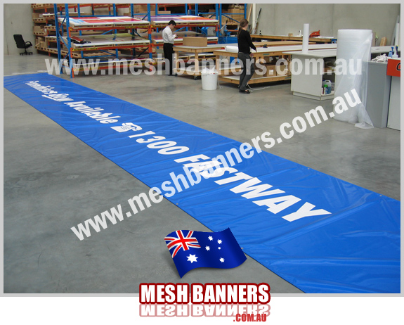 Banners being made in the factory