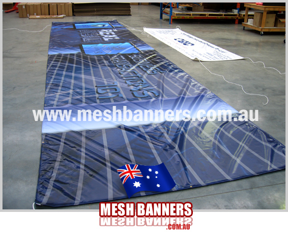 Large size outdoor banners and custom size printing of sign banners, here the banner is drying